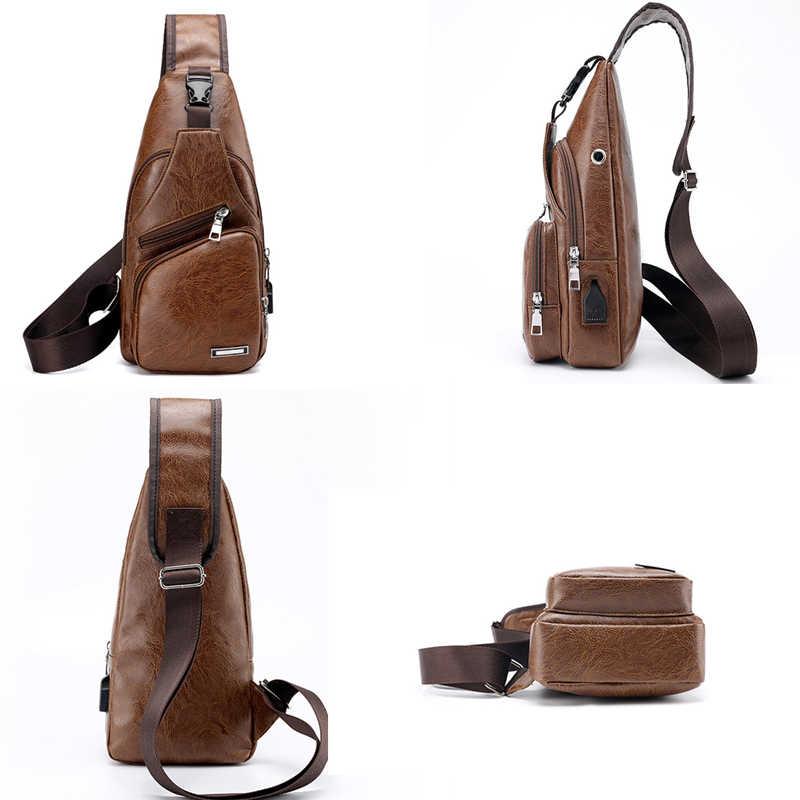 479aeefc9 ... 2018 New Men's Crossbody Bags Men USB Chest Bags Designer Messenger bag  Leather Shoulder Bags Diagonal ...