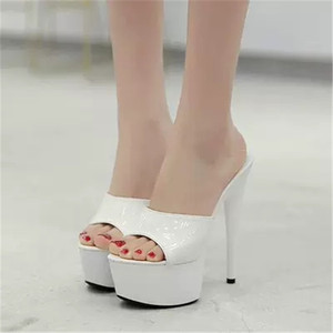 Image 3 - WADNASO Woman Wedding Shoes Sandals 2019 Nightclub Sexy High heeled 15CM Shoes Slippers Fine With Waterproof Sandal Summer Pumps