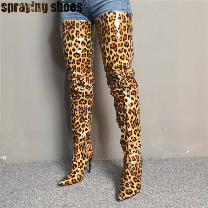 Sexy Leopard Thigh High Boots For Women Pointed Toe Over The Knee High Heels Pumps Lady Shoes Winter Boots Custom Made Big Size