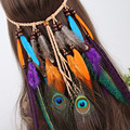 The gypsy Indian feather hair accessories Headdress feathers hair Bohemia tire headdress feathers national style