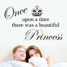 Hot sales! Crown& Once upon a time quote vinyl interior home wall sticker/removable waterproofing Character sticker ZY8233