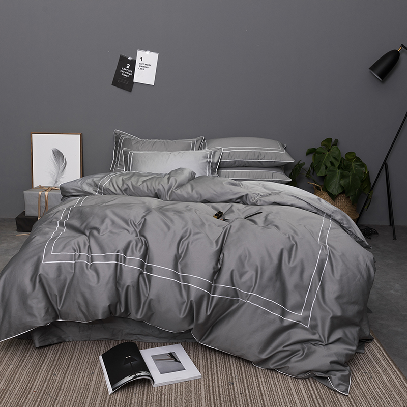 Gray Blue Egyptian Cotton Duvet cover set Queen King size Hotel style Bedding Set Bed sheet
