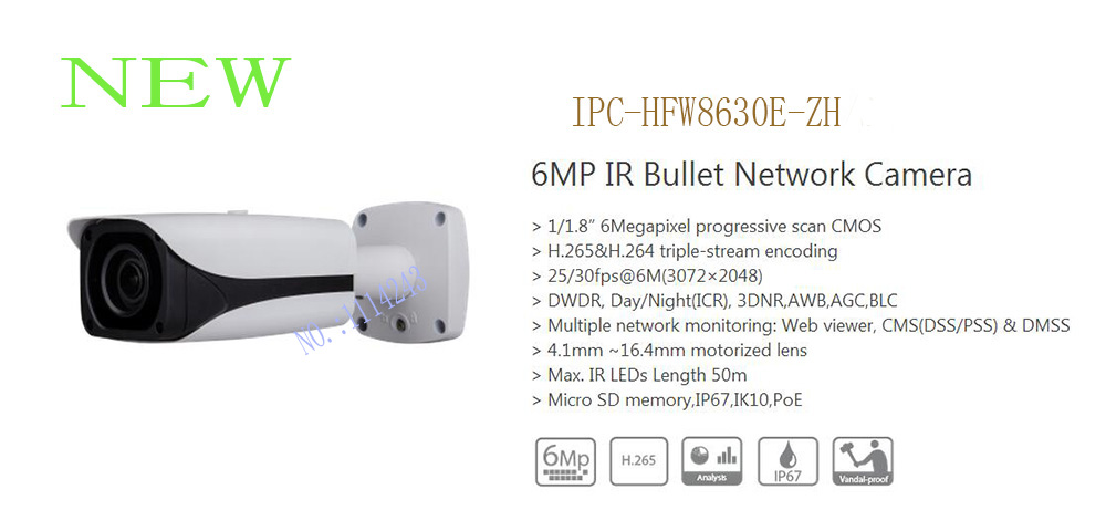 DAHUA Security IP Camera 6MP IR Bullet Network Camera IP67 IK10 With POE Without Logo IPC-HFW8630E-ZH bullet camera tube camera headset holder with varied size in diameter