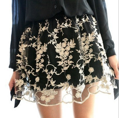 Gold thread embroidery flower puff skirt women's short half-length skirt luxurious lace and noble ladies princess dress