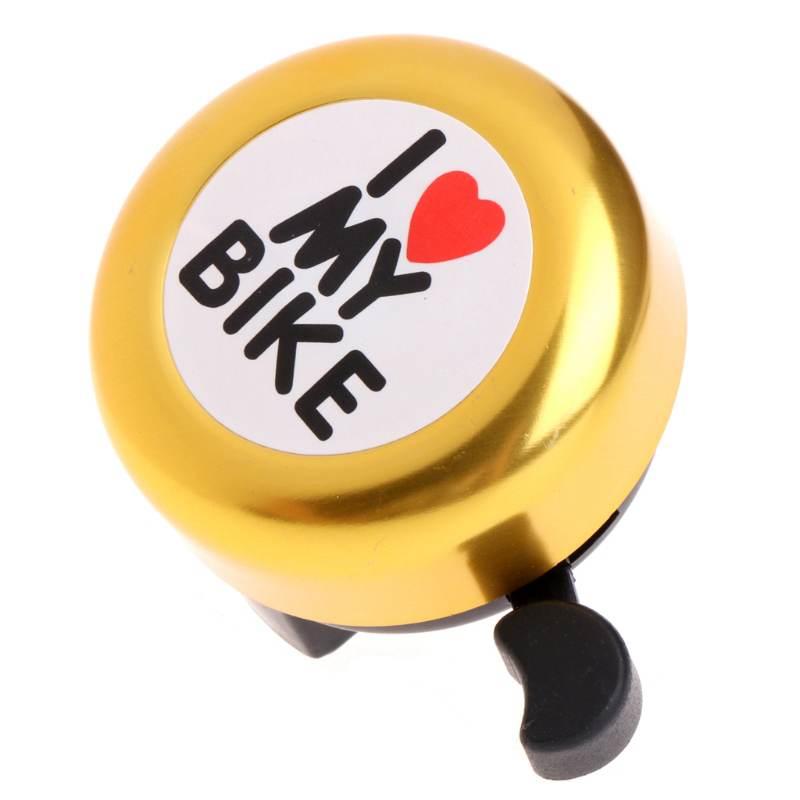 Bicycle Bell  ' I Like My Bike' Bike Horn  Loud Aluminum Bike Ring Mini Bike Accessories for Adults Men Women Kids Girl gold