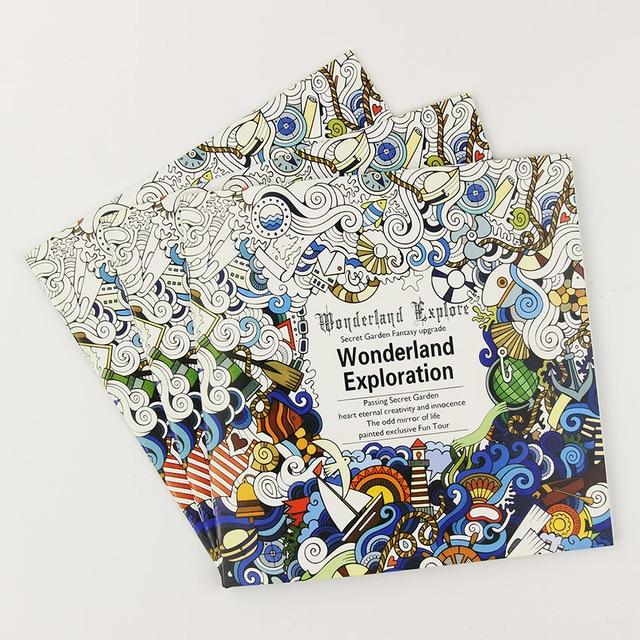 € 0.29 9% de DESCUENTO|24 páginas hermosa Wonderland exploración flor libro para colorear pintura Graffiti libro Niños adulto tiempo dibujo libro ...