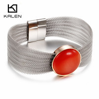KALEN Europe And America Stainless Steel Silver Color Bracelet Bangle Red Stone Friendship Bracelet For Women