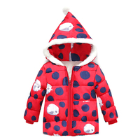 Winter Kids Jacket Leopard Full Sleeve Hooded Cotton Warm Baby Coat Girls Jacket Red Hoodie Outerwear