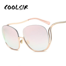 COOLSIR GIRL Oval Rimless Sunglasses Women Fashion Retro Sun Glasses Female High Quality Metal Frame Gradient Oculos UV400