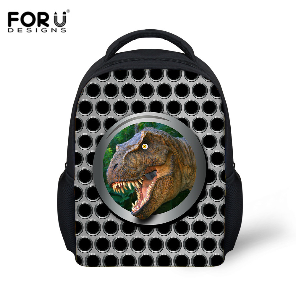 FORUDESIGNS Metal Dinosaur Print Schoolbag Kindergarten Bag Baby Backpack Boy Gril School Bags For Kids Backpacs Mochila Escolar