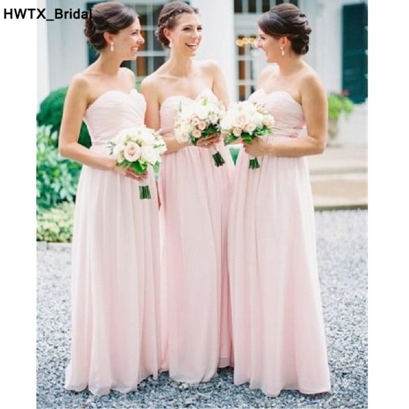 Elegant A-line Wedding Party   Dress   2018 Ruffled Chiffon Long Plus Size Women   Bridesmaid     Dresses   Cheap Vestidos dama de honor