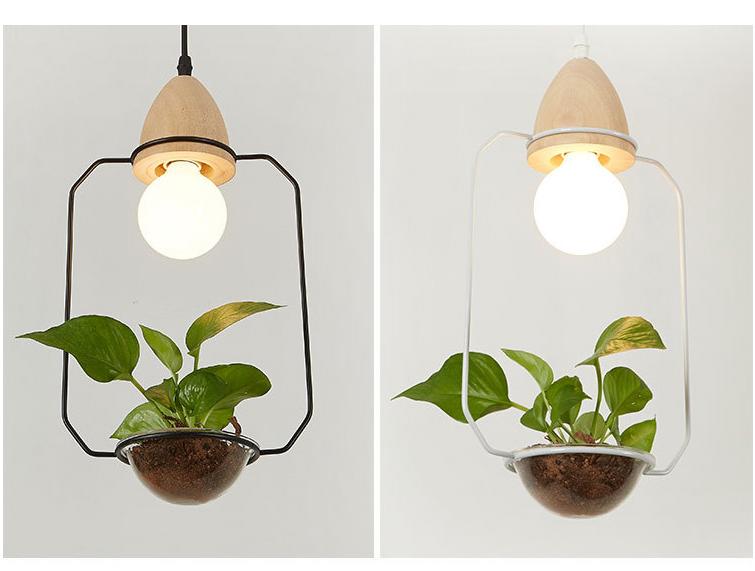Art Deco Led Plant Pendant Light With Wood Base E27 Creative