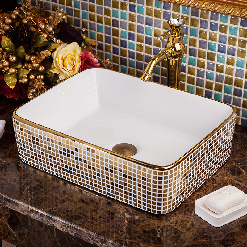 Rectangular Bathroom Cloakroom Ceramic Counter Top Wash Basin Sink Washing basins wash art basin (6)