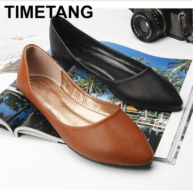 TIMETANG  2018 Spring And Autumn Women Shoes Genuine Leather Flat Heel Casual Slip-on Pointed Toe Shoes Boat Shoes Free C163 new 2017 spring summer women flats shoes genuine leather flat heel pointed toe black red shoes woman slip on casual flat shoes
