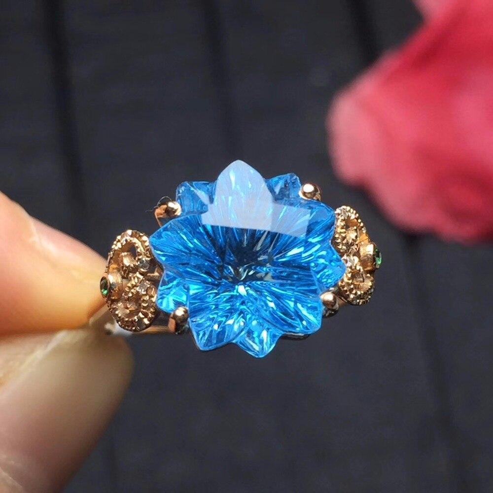 Topaz Ring Edlen Schmuck Echt 18 K Rose Gold AU750 Schmuck 100% Natürliche Blau Topas Edelstein Weibliche Ringe für Frauen feine Ring