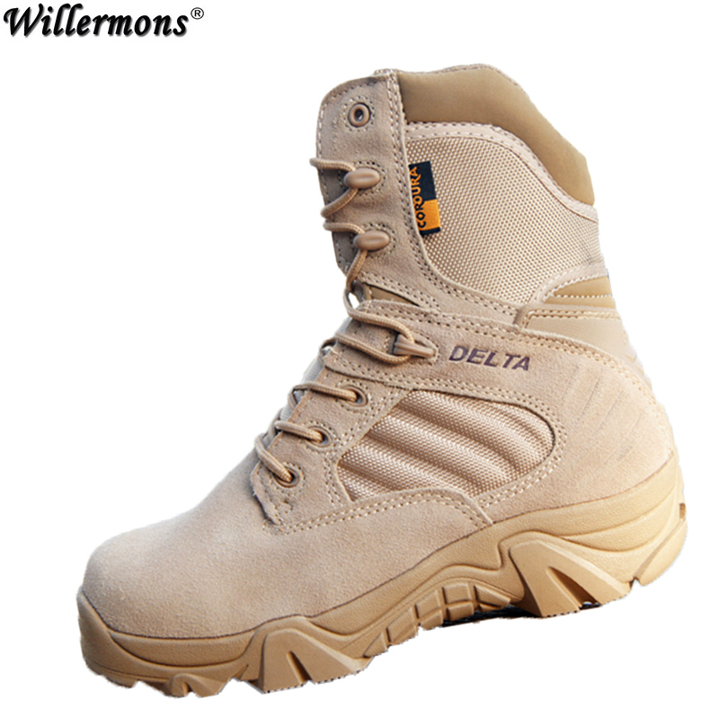 Hiver/automne Hommes Qualité Marque Militaire En Cuir Bottes Force Spéciale Tactique Désert Combat Bateaux En Plein Air Chaussures Bottes de Neige
