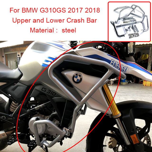 For BMW G310GS 2017 2018 Upper and Lower Motorcycle Engine Frame Protector Crash Bars Guards Highway Silver and Black