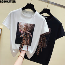 Bobokateer camiseta feminina branca manga curta, camiseta coreana de manga curta para mulheres verão 2020