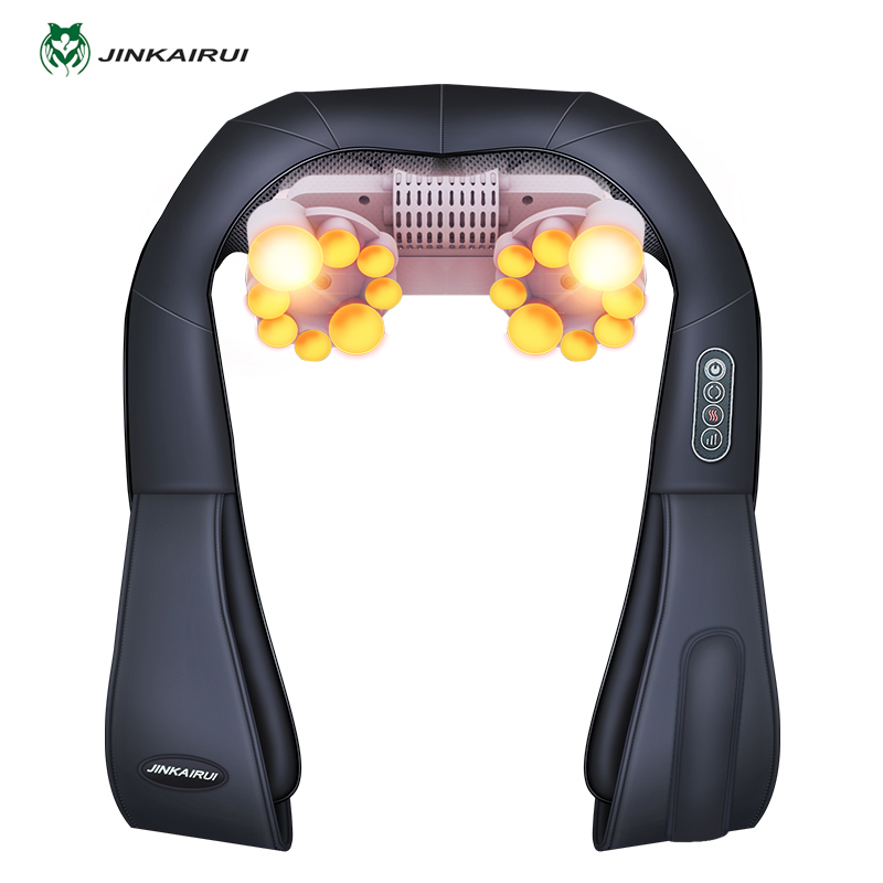 Electrical Neck Shoulder Back Body Massager Shiatsu Kneading Massage Pillow with Infrared Heating Car Home Masaj Device with Box electric massage pillow infrared heating kneading cervical neck shoulder auto shiatsu massager car use massage
