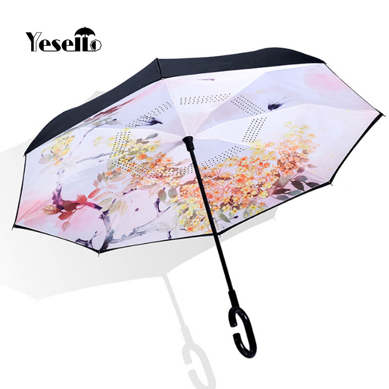 Double Layer Inverted Inverted Umbrella Is Light And Sturdy Alien Planet Computer Artwork Reverse Umbrella And Windproof Umbrella Edge Night Reflecti