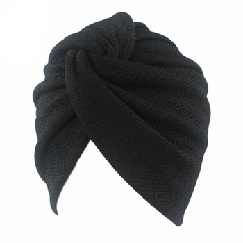 New Women Stretch Solid Ruffle Turban Hat Scarf Knotted Chemo Beanie Caps Headwrap for Cancer Chemotherapy Hair Loss Accessories new vintage women lady grils double flower beanie turban chemo cap for hair loss