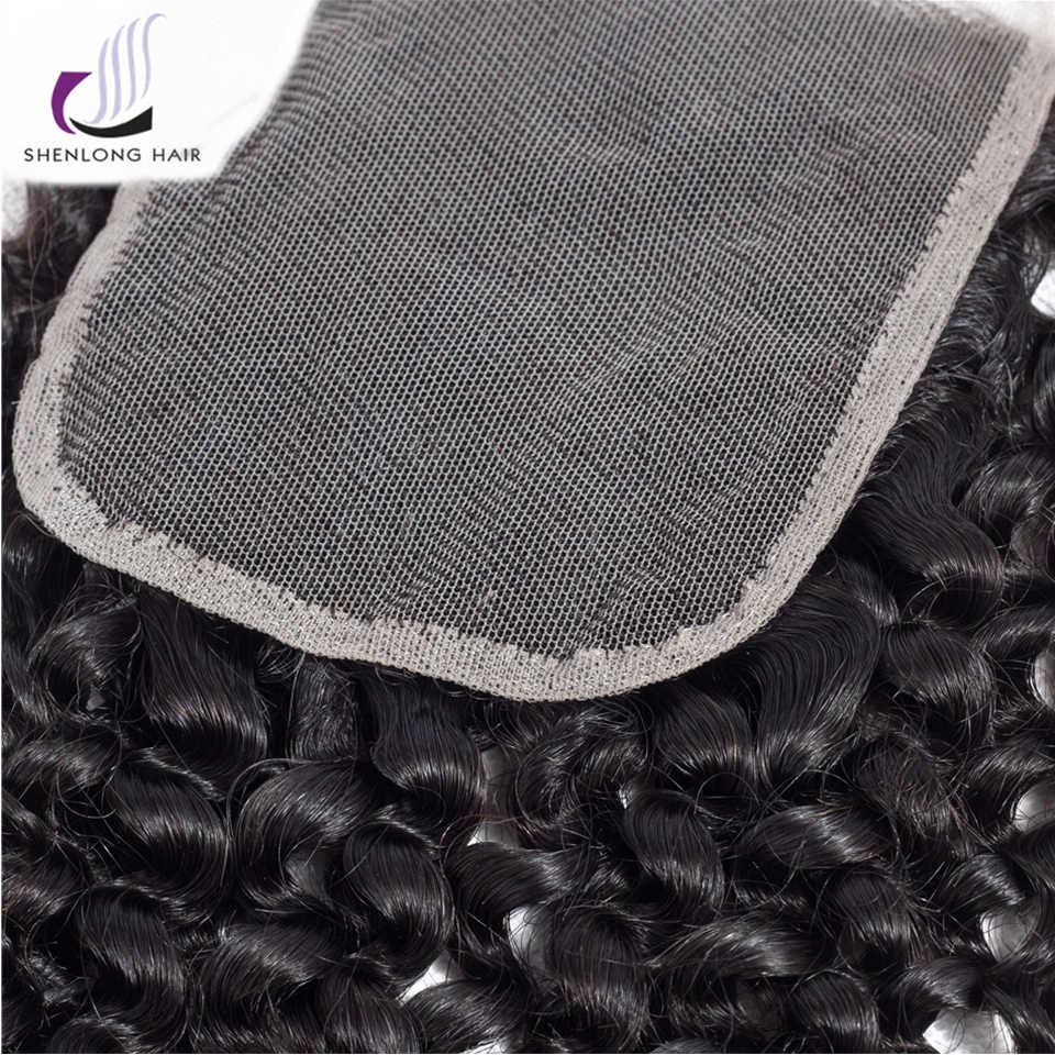 SHENLONG Волосы Кудрявые вьющиеся кружева закрытия малазийские кружева закрытия remy волосы 4*4 закрытия натуральные волосы 100% 8-20 дюймов Бесплатная