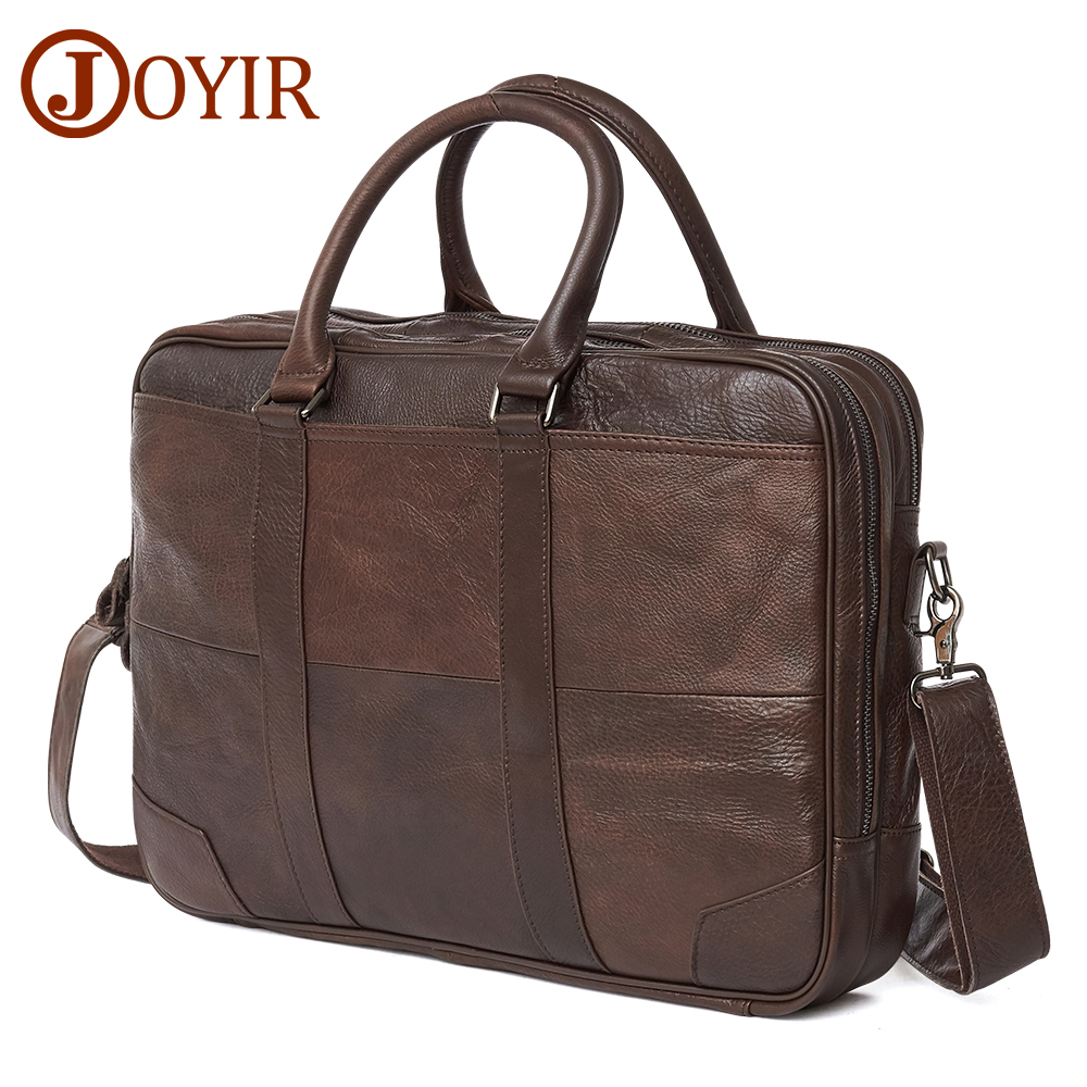 JOYIR Business Briefcase Genuine Leather Men Bag Computer Laptop Handbag Man Shoulder Bag Messenger Bags Men's Office Handbag