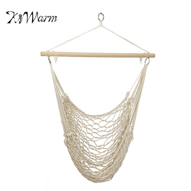 Outdoor Hammock Chair Hanging Chairs Swing Cotton Rope Net Swing Cradles  Kids Adults Outdoor Indoor Swing