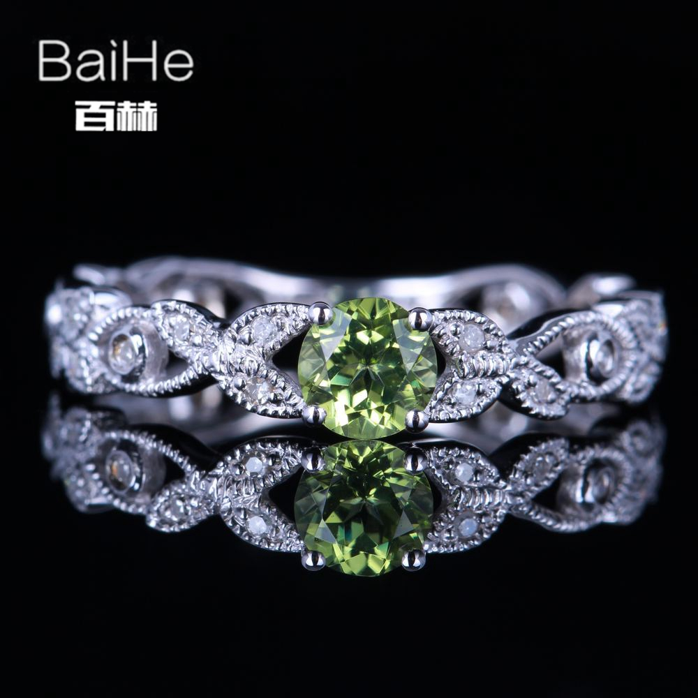 BAIHE Sterling Silver 925 0.22ct Certified Flawless Round cut 100% Genuine Peridot Wedding Women Trendy Fine Jewelry unique Ring