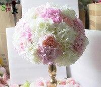 Centro de mesa SPR blanco mezcla de color rosa bola de la flor rosa artificial flor de la boda telón de fondo decoración de pared arreglo del envío gratis
