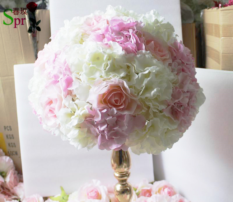 SPR pink mix white table centerpiece flower ball artificial rose ...