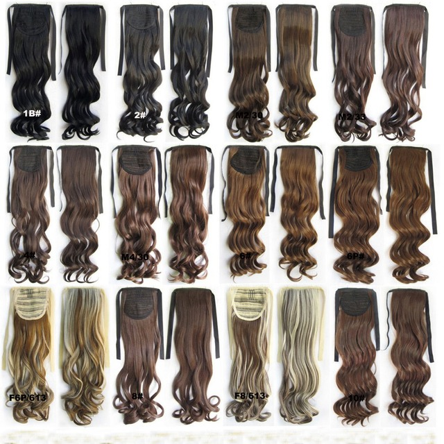 """Free Shipping 22"""" 10Colors Drawstring Ponytails Curly Wavy Synthetic Ponytail 100G/PC Ponytail Hairpieces Clip In Hair Ponytail"""