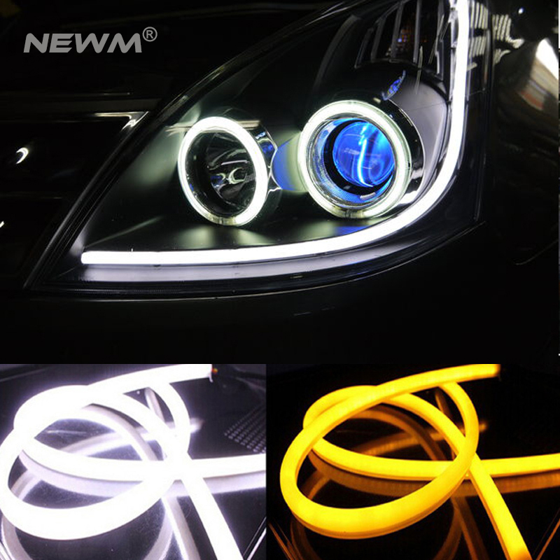 30cm 45cm 60cm 85cm DRL Flexible LED Tube Strip Style Daytime Running Lights Tear Strip Car Headlight Turn Signal Parking Lamps 2pcs 12v car drl led daytime running light flexible tube strip style tear strip car led bar headlight turn signal light parking