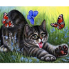 Cat Love Butterfly Square Drill Rhinestone Pasted Painting Cross Stitch Crafts 5d Diy Diamond Drawing Home