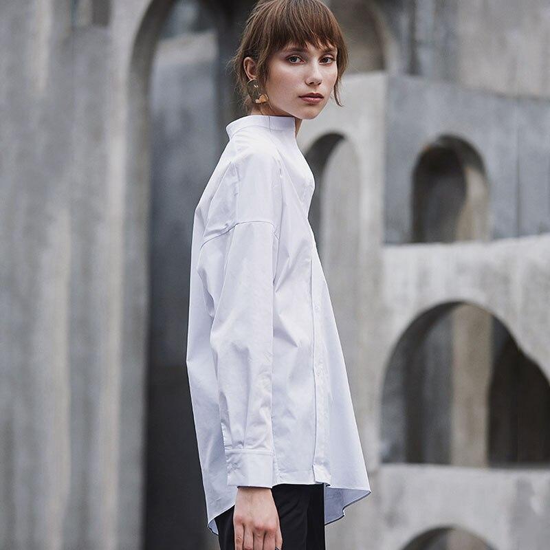 HG blanc lâche Blouse femmes irrégulière mince mode bouton élégant col montant loisirs 2019 nouveau automne chemises dames ZYQ1168 - 3