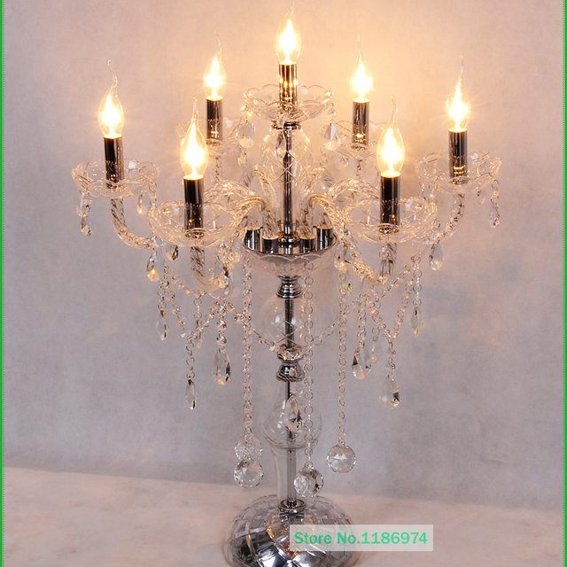 Free Shipping Large Glass Table Lamp Glass Candlestick Crystal Work - Restaurant candle holders for table