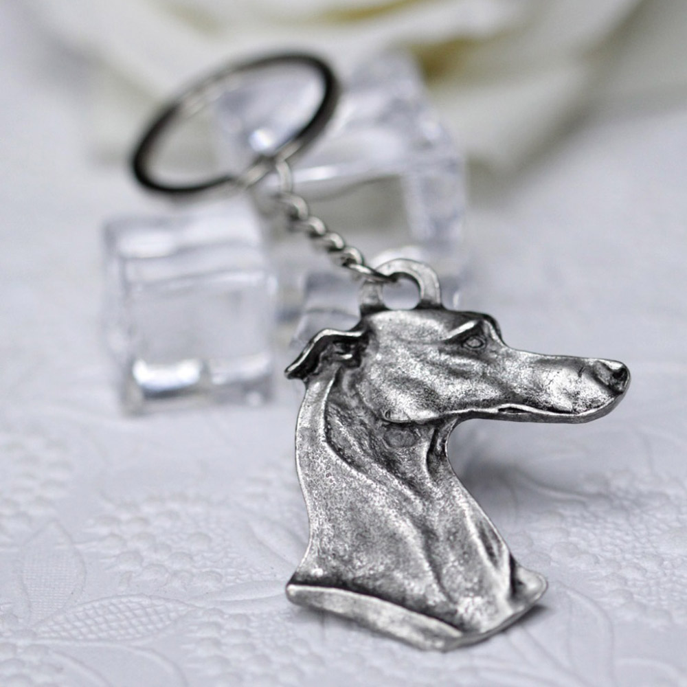 43*50mm Metal Greyhound Keychain Hounds Key Ring Men Women Pet Lover key chains Doggy Chaveiro Puppy Gift Wholesales A002