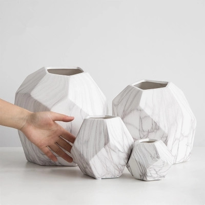 Marble pattern ceramic vase modern minimalist home decoration ornaments creative flower vase decoration
