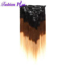 Fashion Plus Clip In Hair Extensions Straight Human Hair Extension Machine Made Set 7pcs 120g Remy Hair Clip Ins Full Head(China)