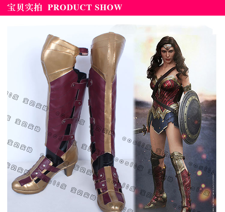 Wonder Woman Cosplay Boots Diana Prince Zipper Back Artificial Leather Customize High Quality Shoes Halloween Party