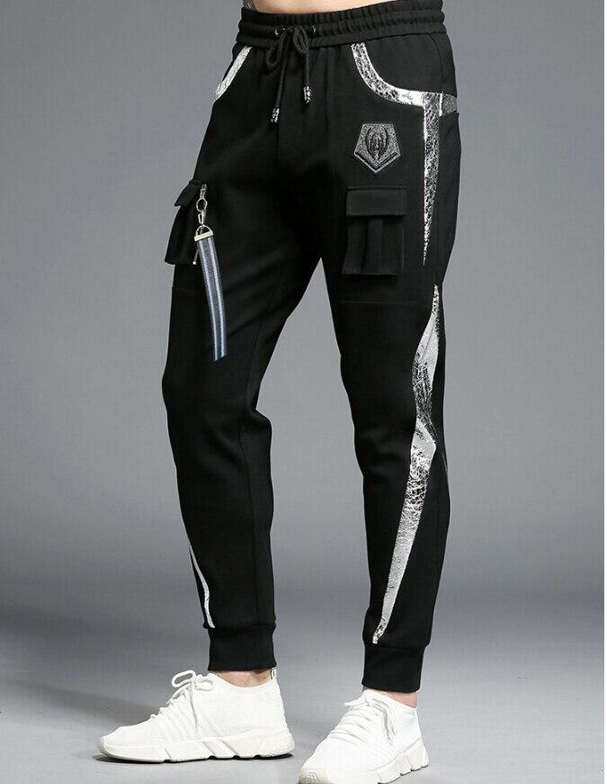 Sportswear Casual Elastic Cotton Mens Fitness Workout Pants Skinny Sweatpants