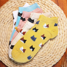 купить 5Pairs/Lot socks women Cotton Cat Socks Female Cute Pattern Animal Socks summer Girls Funny Ankle Socks Sokken sox with gift bag дешево