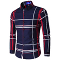 New Design Plaid Shirt Men Autumn Fashion Mens Slim Fit Long Sleeve Dress Shirts Casual Brand Men Shirt Chemise Homme 16C992