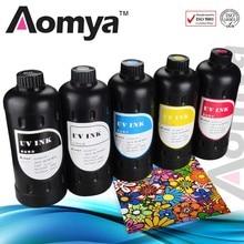 Aomya 5 PCS UV LED Ink UV Printing Ink For Soft Materials 5x1000ml For Epson Uv