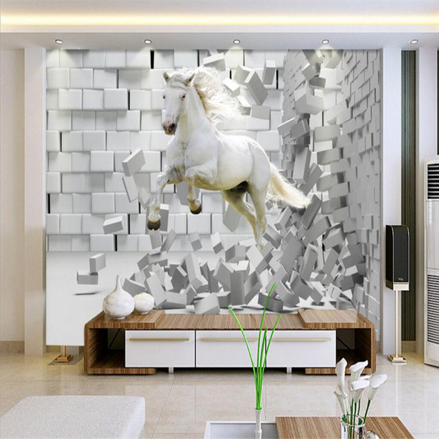 Anpassen Grosse Wandbild Tapete Hintergrund Mauer Weiss Pferderennen