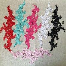 1Pair 35X10cm 6 Colors Bridal Wedding French Lace Floral Polyester Venice Venise Corded Applique Guipure Fabric TT251