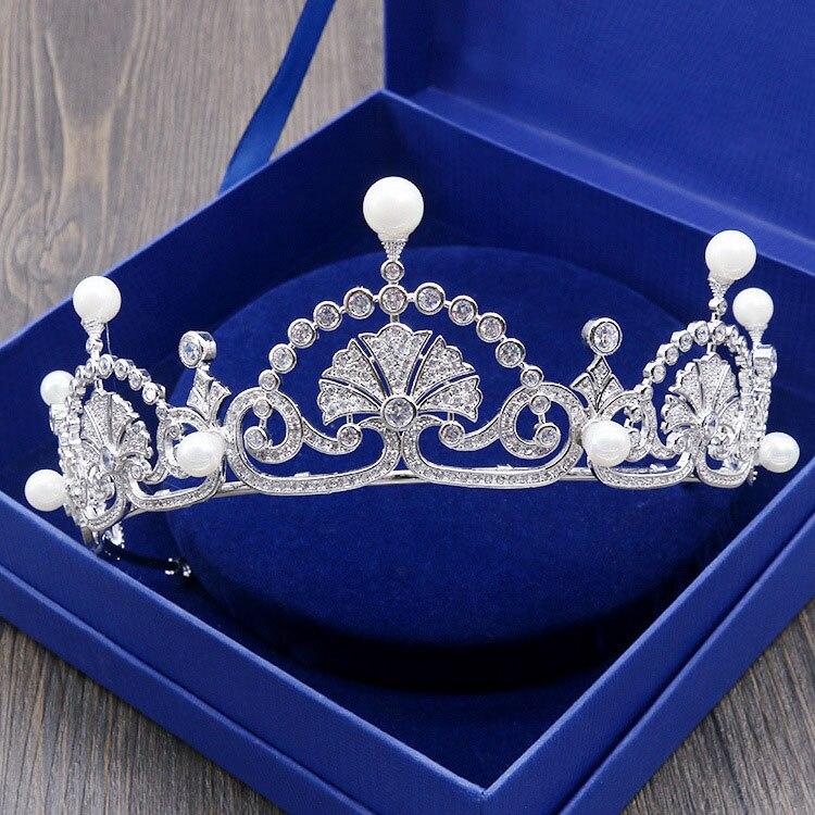 SLBRIDAL Великолепный прозрачный кубический циркон жемчуг свадебная тиара CZ Свадебная Королева Принцесса пышные вечерние корона аксессуары д