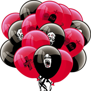 Image 1 - 16pcs (Red,Black)Spooky Halloween Decoration Balloons Party Latex Balloons Trick or Treat Zombie Party Supplies
