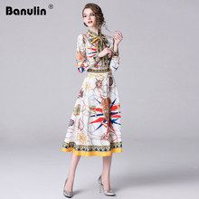 Banulin Plus Size XXL New 2018 Autumn Women Long Dresses High Quality Bow Collar Flower Printed Chic Sweet Runway Pleated Dress