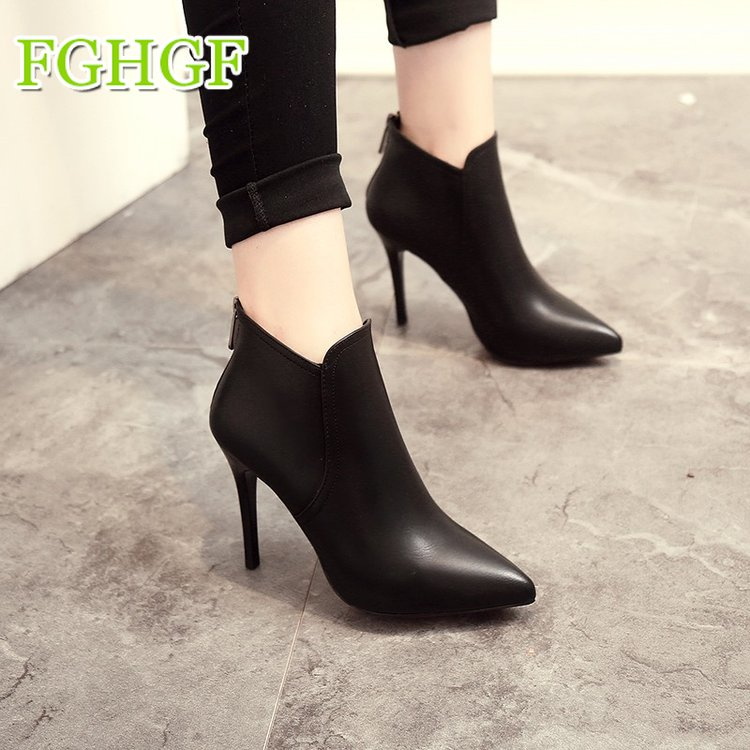 2018 Spring Autumn Stiletto Thin High Heels Pointed Toe Faux Leather Zipper Style Sexy Ankle Womens Boots mid calf pointed toe cowboy boot stiletto thin heels womens riding boots beading buckle adhesive euro pure color faux fur